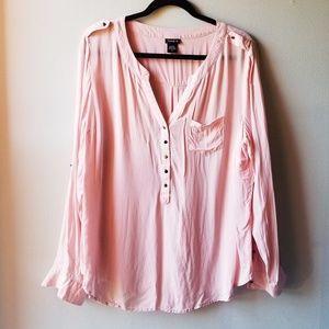 Torrid Peachy Pink Partial Buttondown Blouse 0